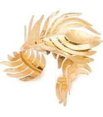 gold plated brass peacock cuff bracelet, women's, josie natori