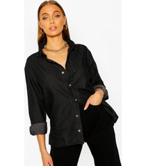 oversized chambray shirt, black