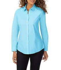 women's foxcroft dianna non-iron cotton shirt, size 14 - blue