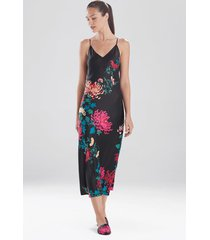 natori chrysanthemum silky nightgown, women's, black, size l natori