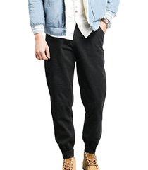 bolsillo wasit con cordón liso estilo causal negro diseño harem para hombre pantalones