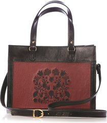 bolsa blue bags satchel couro bicolor bordado preto