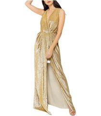 lange micro gewatteerde jurk