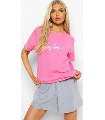tall pyjama set met t-shirt met tekst en shorts, pink