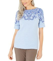 karen scott printed boat-neck top, created for macy's