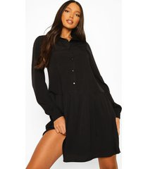 tall geweven blouse jurk met losvallende zoom, black
