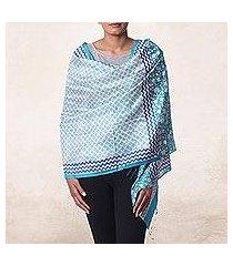 silk shawl, 'turquoise field' (india)