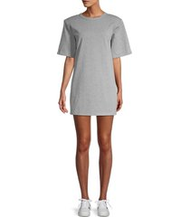 endless rose women's padded shoulders t-shirt dress - grey - size s