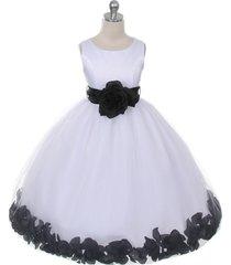 white dress black sash and flower petals bridesmaid pageant flower girl dress