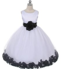 white dress black sash and flower petals bridesmaid pageant flower girl dress