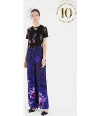 wide leg trousers flowers - blue - 44