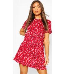 gesmokte bloemenprint jurk, rood