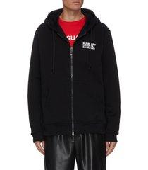 love graffiti print zip up drawstring hoodie