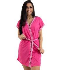robe de malha linha noite pink