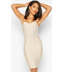 bandage crystal detail mini dress, nude