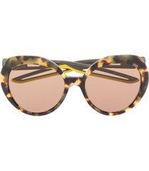 balenciaga eyewear hybrid round-frame sunglasses - brown