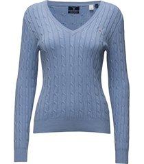 stretch cotton cable v-neck gebreide trui blauw gant