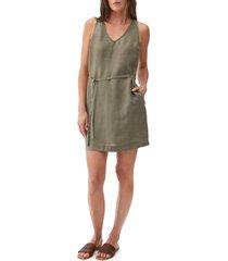 women's michael stars glenda v-neck linen shift dress, size medium - green