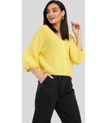 na-kd balloon sleeve short knitted cardigan - yellow