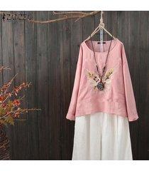 zanzea mujeres camisa larga bordado tops casuales señoras de la camisa de ganchillo flor tapas de la blusa del tamaño extra grande -rosado