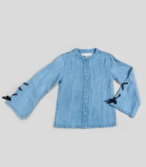 girl's chambray tie detail blouse