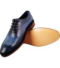 oxford one cuero patina azul para hombre