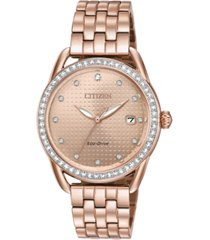 citizen drive from citizen eco-drive women's pink gold-tone stainless steel bracelet watch 37mm