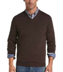 joseph abboud chestnut v-neck merino wool sweater