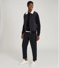 reiss fresh - hybrid zip through quilted jacket in navy, mens, size xxl