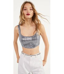 glanzende cropped top