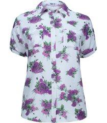 camisa manga corta estampada color morado, talla 2xl