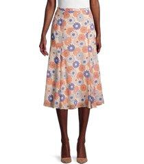kenzo women's floral silk a-line skirt - beige multi - size 38 (6)