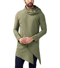 incerun camiseta asimétrica delantera lisa con botones lisos de moda informal para hombre