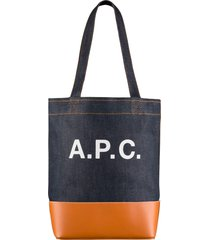 a.p.c. axelle denim & leather tote-bag-indigo & caramel-m61444-caf