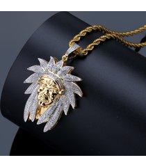 collana retrò indiana a capo collana in oro bicolore con zirconi microincastonati