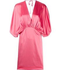 semicouture gathered batwing satin mini dress - pink