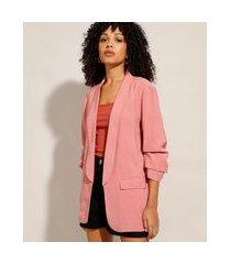 blazer longo com bolsos manga 7/8 rosa