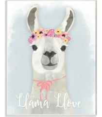 "stupell industries llama love pink flower tiara wall plaque art, 12.5"" x 18.5"""