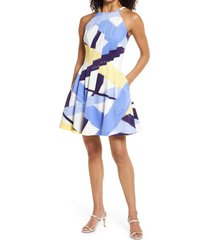 vince camuto abstract print halter neck fit & flare dress, size 6 in blue multi at nordstrom
