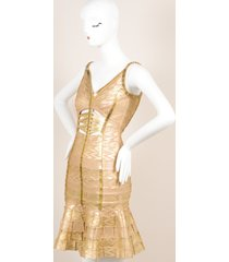 herve leger gold metallic printed beaded cut out bodycon dress sz m