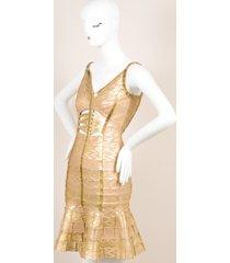 gold metallic printed beaded cut out bodycon dress sz m