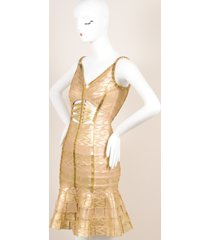herve leger gold metallic printed beaded cut out bodycon dress sz m gold sz: m