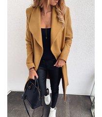 khaki belt design lapel collar trench coat