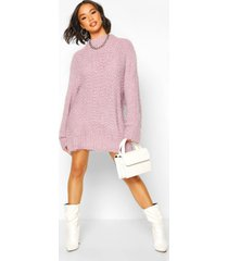 oversized premium boucle feather knit dress, lilac