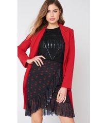 na-kd mesh overlap mini skirt - black