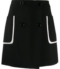 fendi contrast pocket buttoned skirt - black