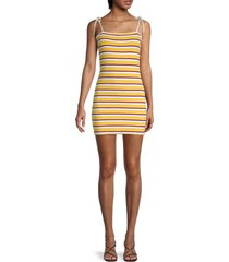 solid and striped women's mini terry shift dress - tweety yellow combo - size m