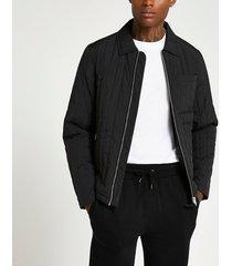 river island mens black quilted zip front harrington jacket