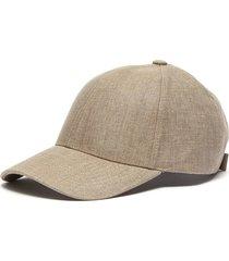 logo plaque back strap linen cap