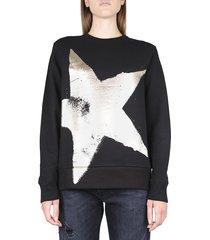 golden goose black athena cotton sweatshirt with star